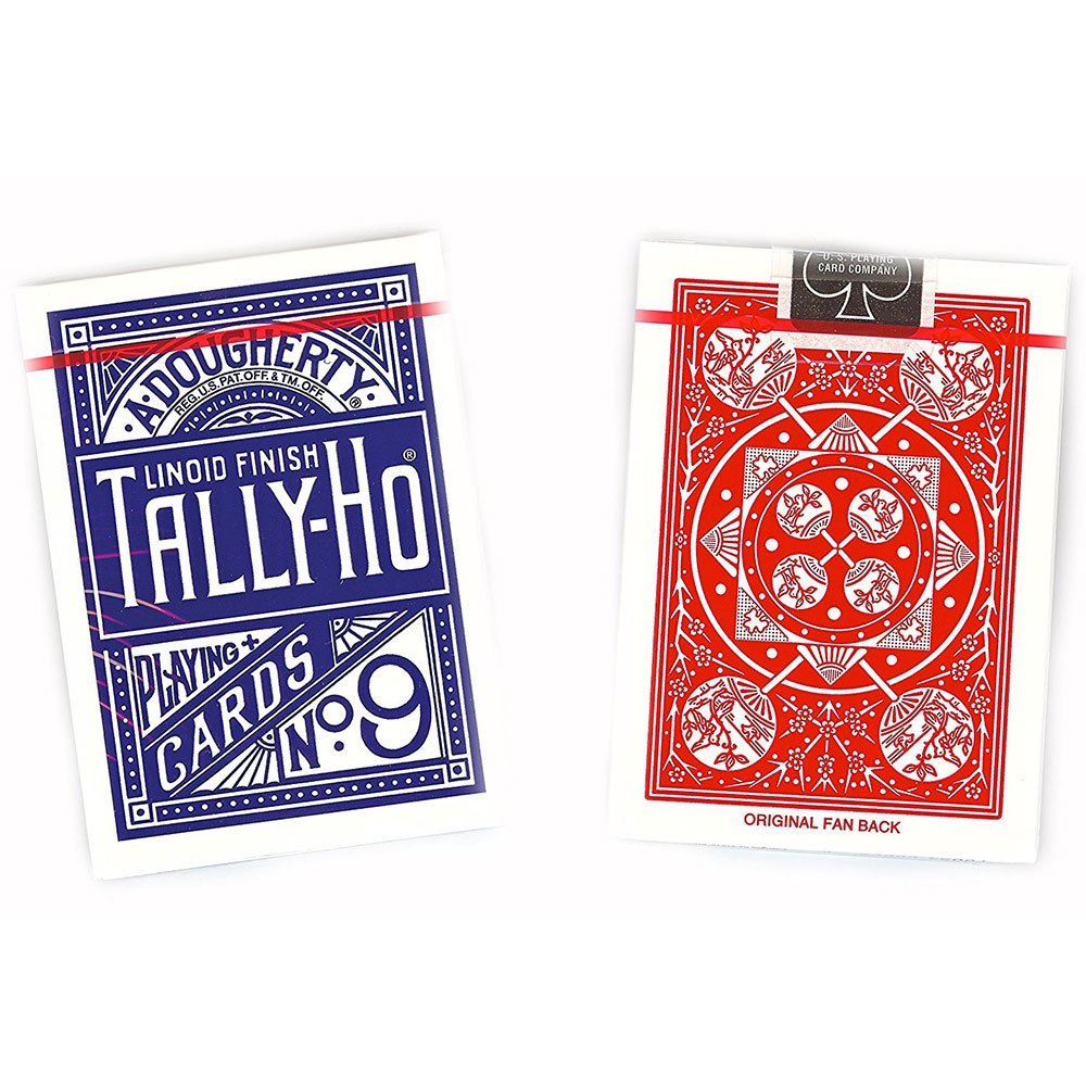 Tally-Ho Fan Back Standard Index Playing Cards - Assorted Red and Blue