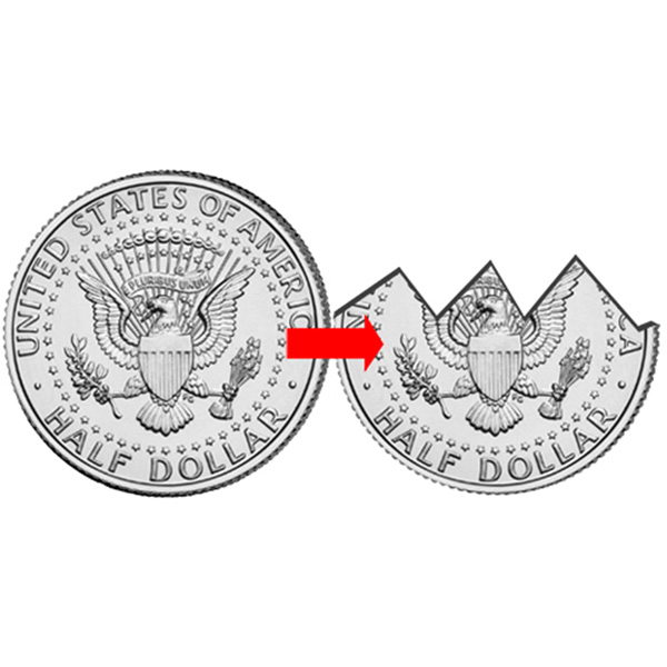 Bite out Coin - Half Dollar - US $0.50