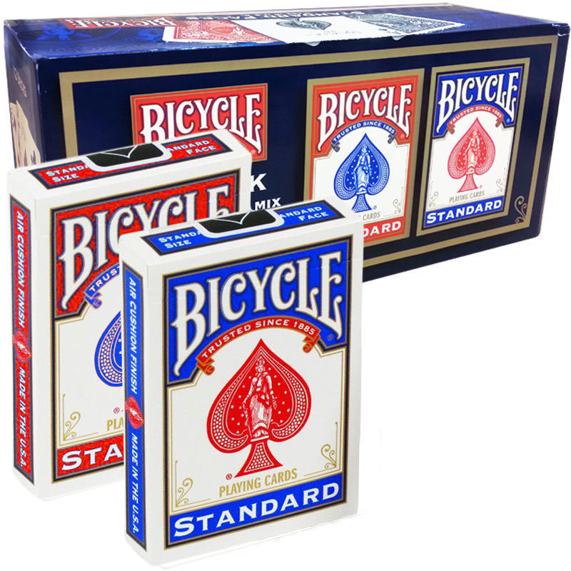 Bicycle Poker Standard Index Deck #808 - 6 Blue, 6 Red - Pack of 12