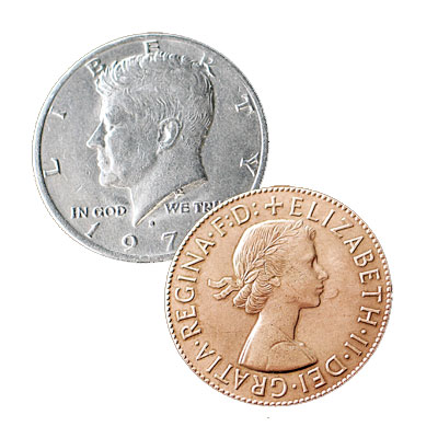 Copper Silver Half - US $0.50 and English Penny