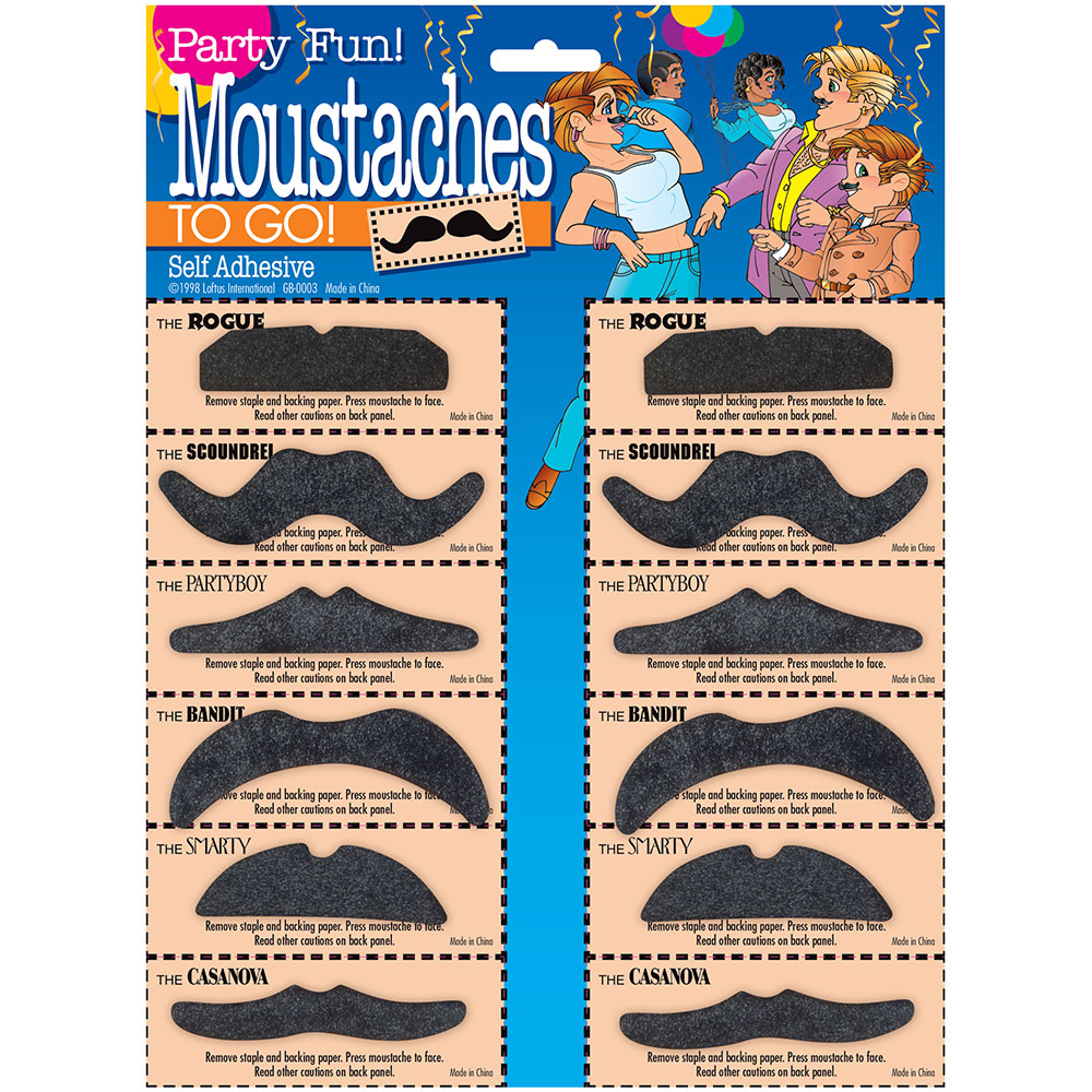 Character Mustaches Card of 12 - Assorted