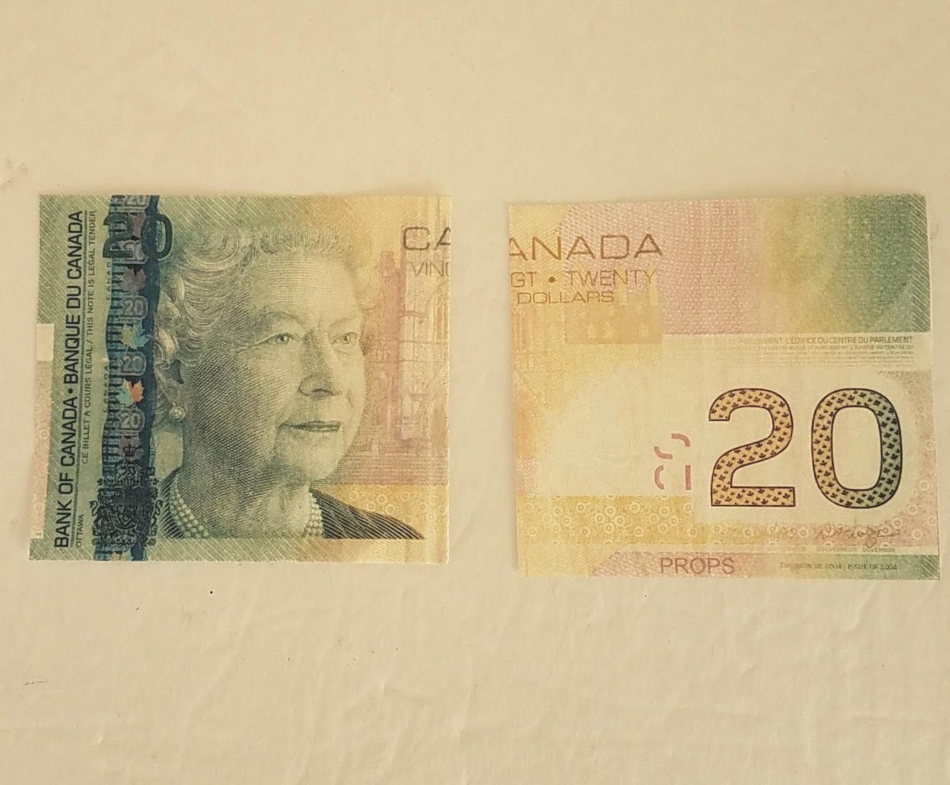 Flash Dollar Bills - Canadian $20 Half - Pack of 10
