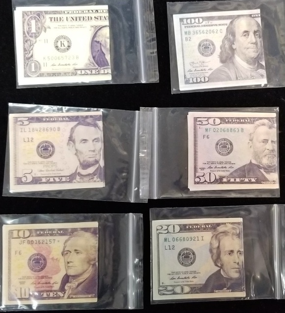 Flash Dollar Bills - US $ various & Canada $20