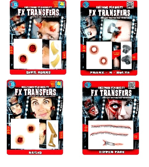 Fx Transfers - Nailed, Devil Horns, Zipper Face, Frank-N-Bolts