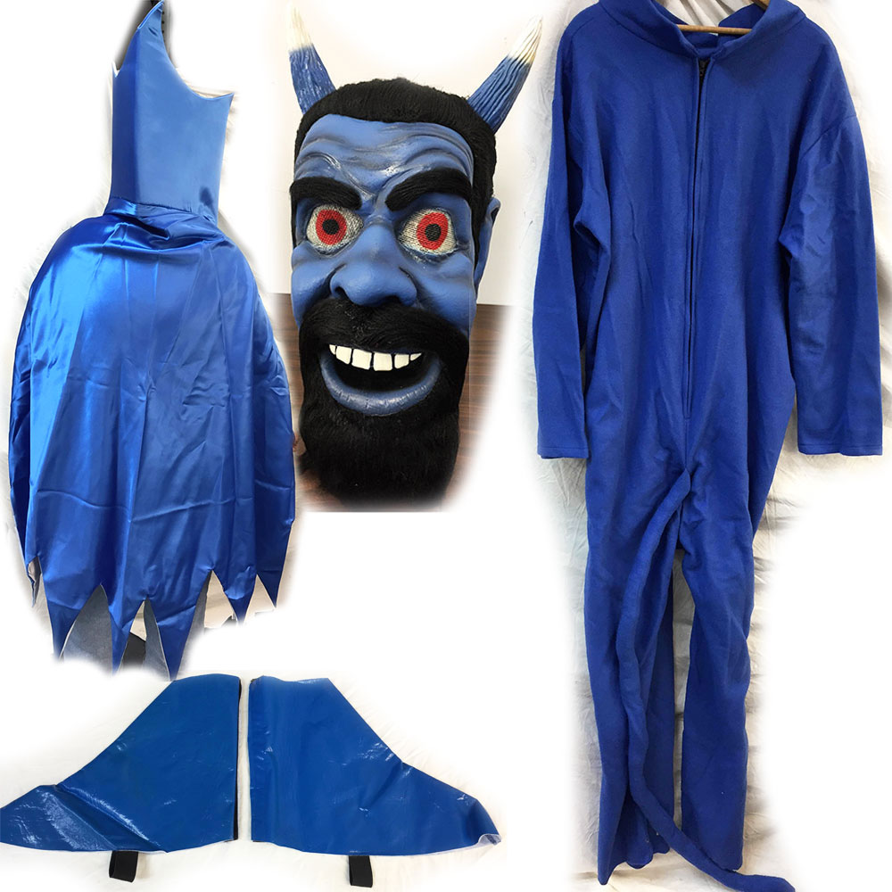 Blue Devil Complete Mascot Costume with Cape and Mask