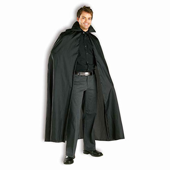 Magician Black Cape Long with Stand Up Collar