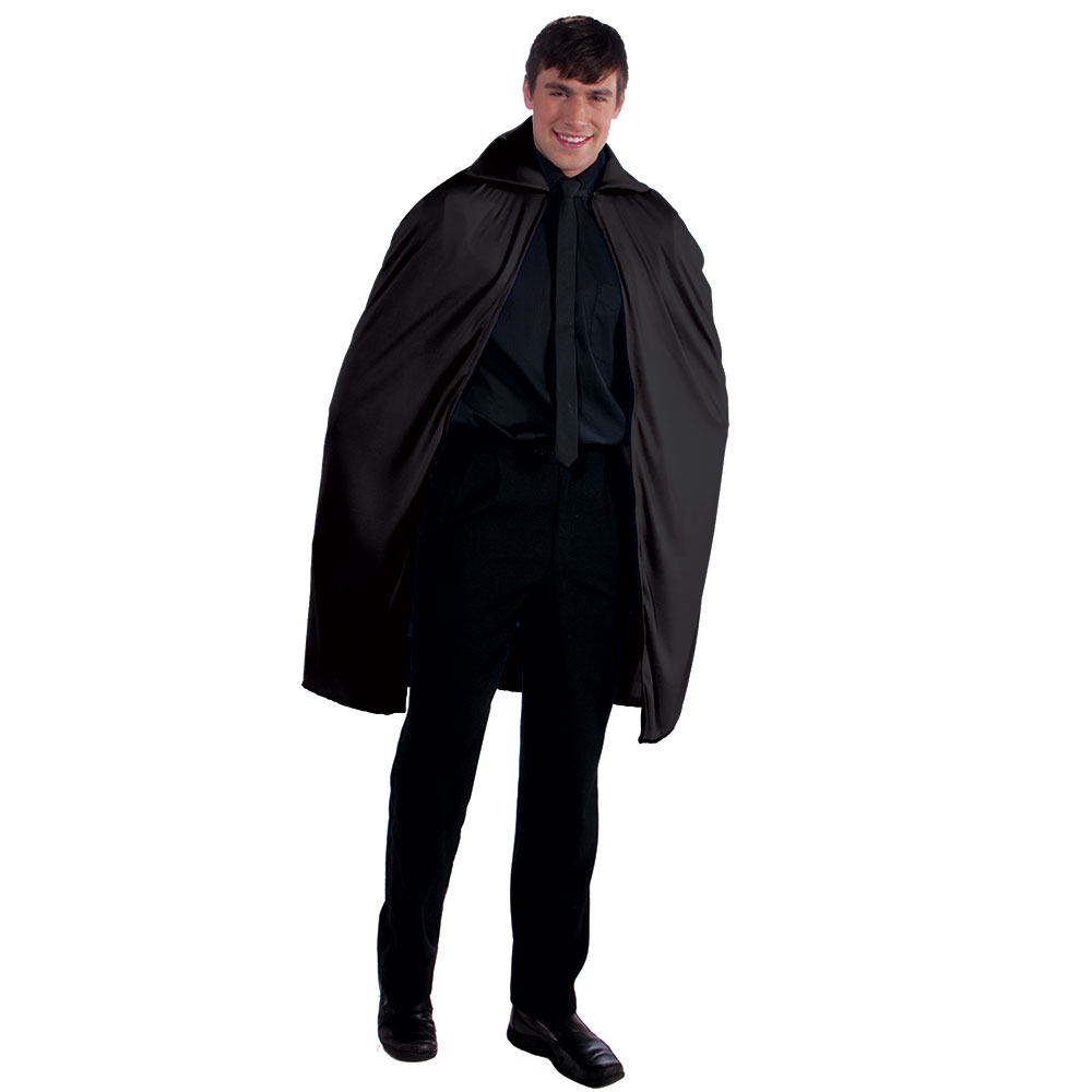 "Magician Black Cape 45"" Hip Length with Collar"