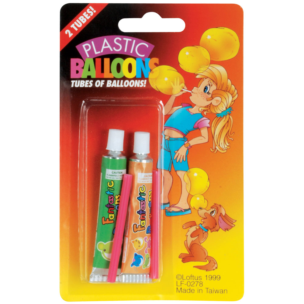 Plastic Balloons 2 Tubes Blister Card - Pack of 12