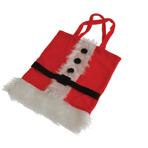 Santa Suit Plush Fabric Christmas Gift Bag