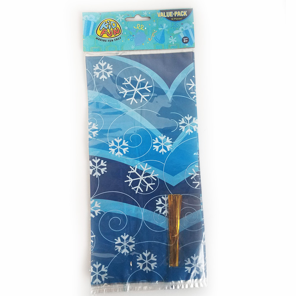 Winter Holiday Snowflake Cello Bags with Ties - Pack of 12