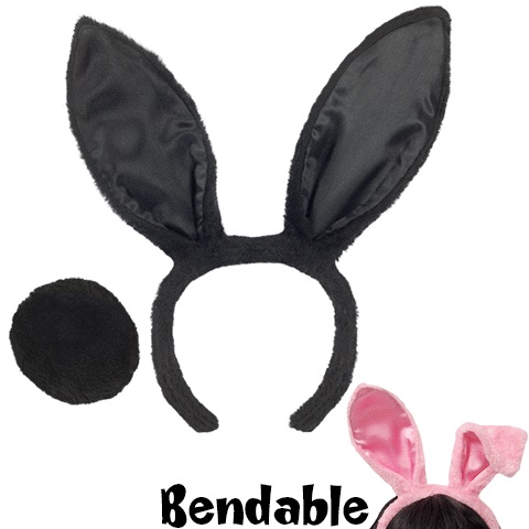 Bunny Ears and Tail - Assorted Pink or Black