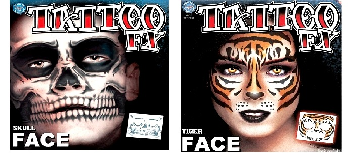 Tattoo FX Costume Face Kits - Tiger, Skull